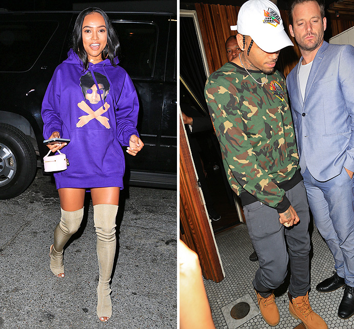 A photo showing Chris Brown and Karrueche Tran photographed separately during the birthday bash of Kylie Jenner.