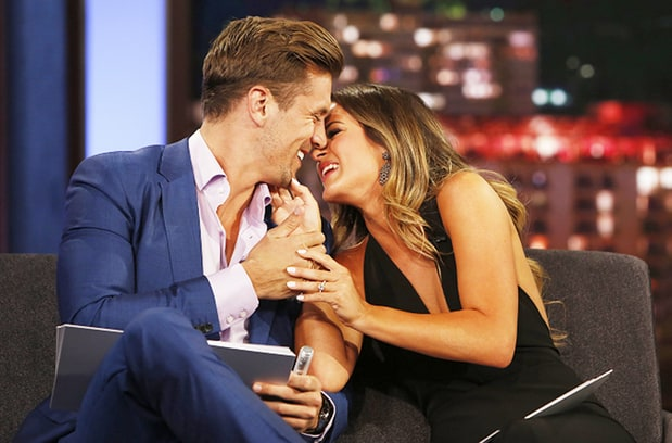 "JoJo Fletcher and Jordan Rodgers appearing on ""Jimmy Kimmel Live"" after ""The Bachelorette"" finale."