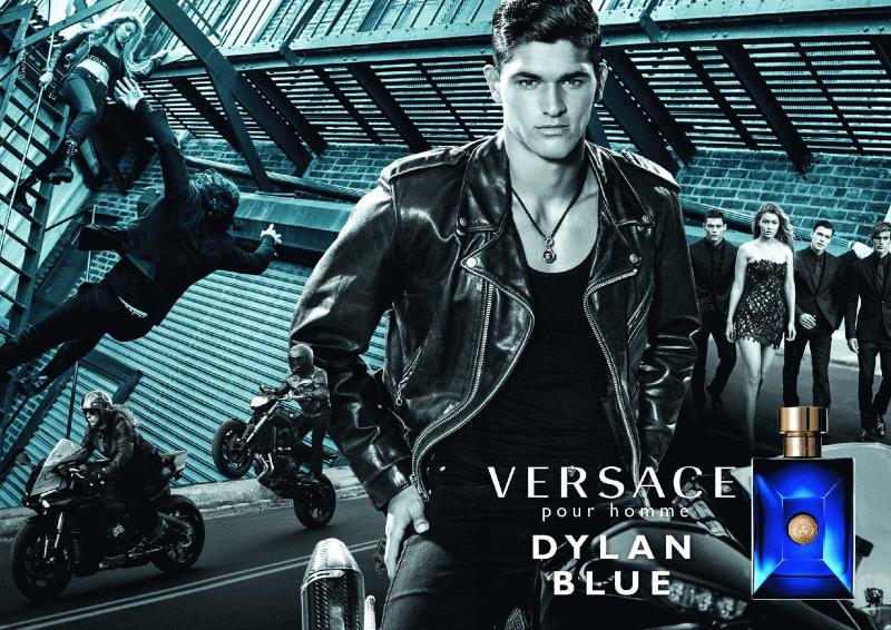 An undated photo showing the Versace ad for Dylan Blue cologne advertised by UFC star Alan Jouban.