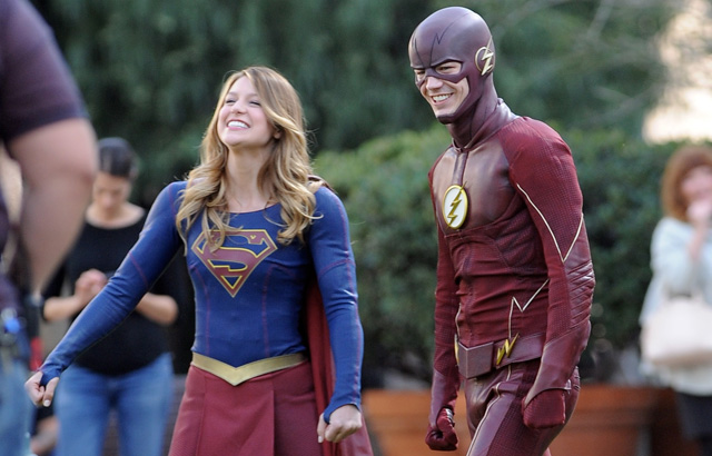 "A promo photo showing ""Supergirl"" and ""The Flash"" lead characters in their first crossover episode."