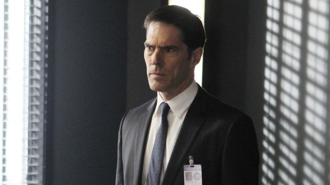 """Thomas Gibson seen in a still from one of the episodes of """"Criminal Minds."""""""
