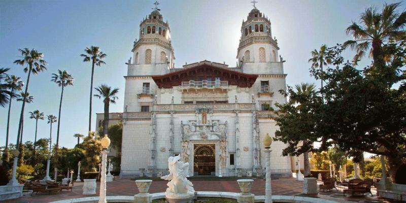 A photo showing the Hearst Castle in California.
