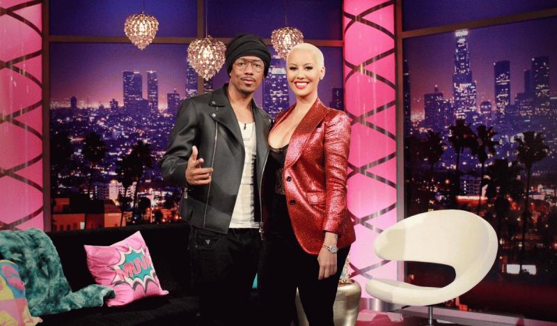 """Nick Cannon and Amber Rose on the set of """"The Amber Rose"""" show."""