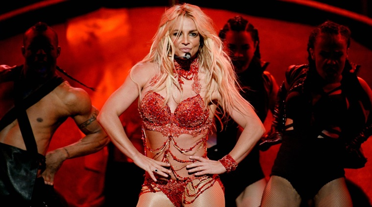 Britney Spears photographed during one of her performances for the MTV VMAs.