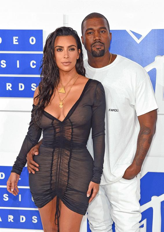 Kim Kardashian and Kanye West photographed during this year's MTV VMAs.