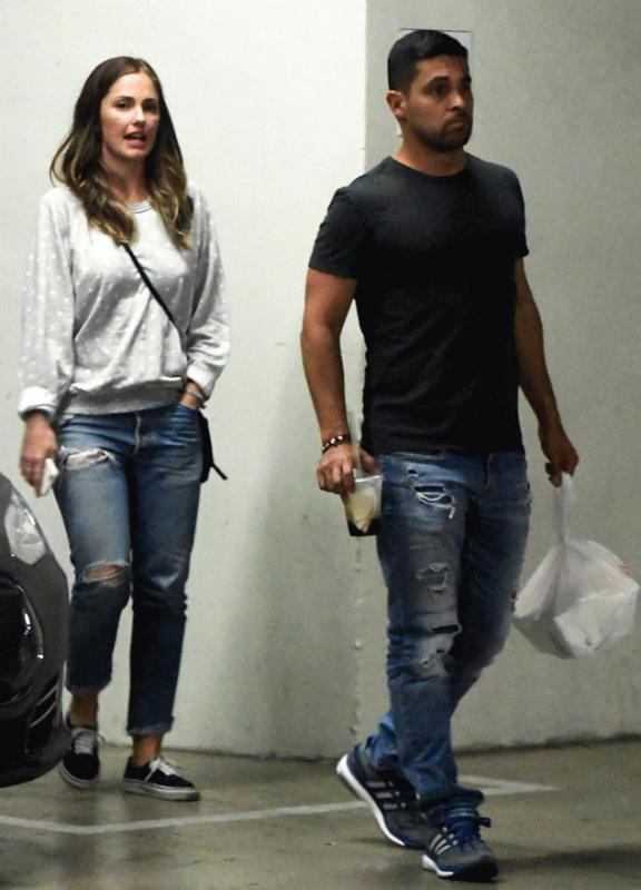 Wilmer Valderrama and Minka Kelly spotted leaving a restaurant in Hollywood.