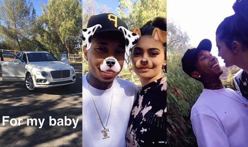 A photo showing Tyga and Kylie Jenner as she gifted him with a new Bentley.