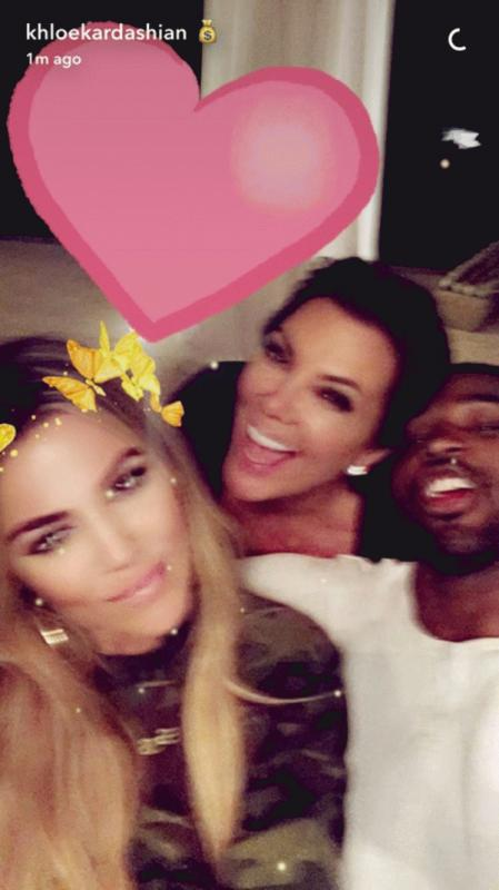 Khloe Kardashian with Tristan Thompson and Kris Jenner in a photo uploaded on Snapchat.