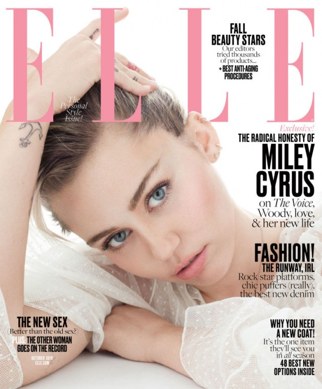 Miley Cyrus covers the October issue of Elle magazine.