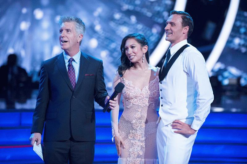 "Ryan Lochte and Cheryl Burke on the set of ""Dancing With The Stars."""