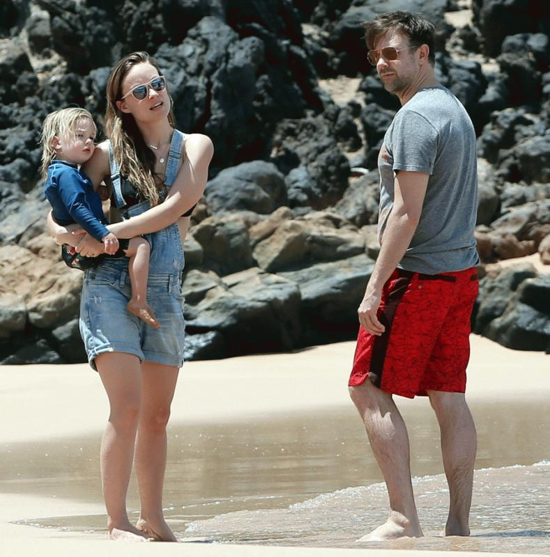 Olivia Wilde with her son and fiance in an undated photo.