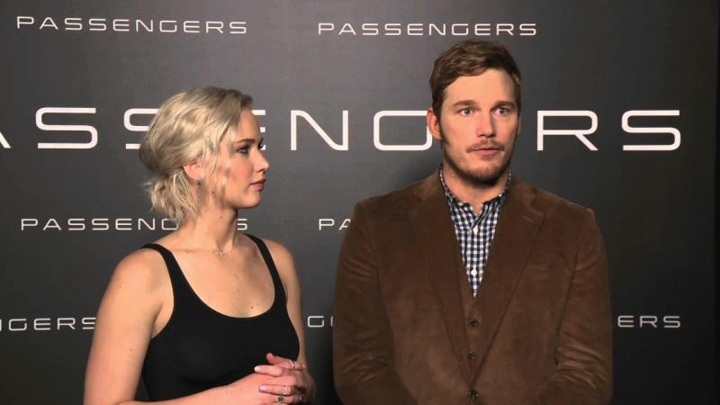 "Chris Pratt and Jennifer Lawrence in an undated photo as they promote their new flick, ""Passengers."""