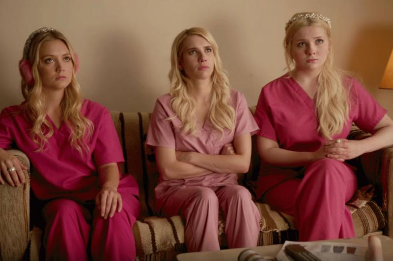"A promo photo showing Chanel, Chanel number 3, and Chanel number 5 in ""Scream Queens"" season 2."