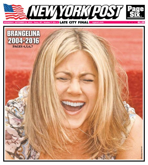 A photo showing the cover photo of the New York Post.