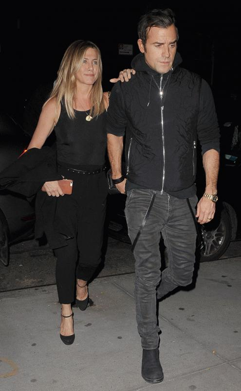Jennifer Aniston and Justin Theroux spotted in NYC over the weekend.