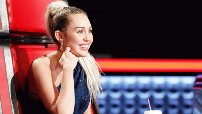 """Miley Cyrus on """"The Voice"""" in an undated snap."""