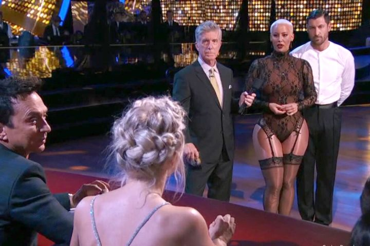 "Amber Rose seen talking to Julianne Hough during the Monday episode of ""Dancing With The Stars."""