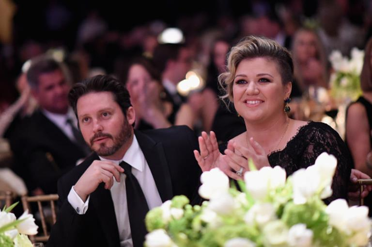 Kelly Clarkson and her husband in an undated photo.