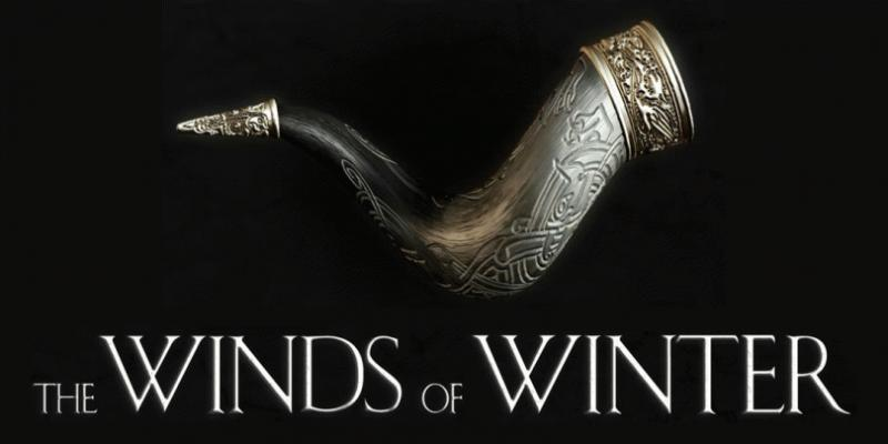 "A promo photo showing ""The Winds of Winter"" book cover."
