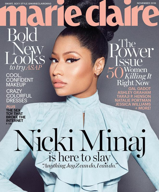 Nicki Minaj for Marie Claire magazine's latest issue.