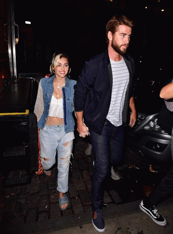 Miley Cyrus and Liam Hemsworth photographed together during a recent night out.