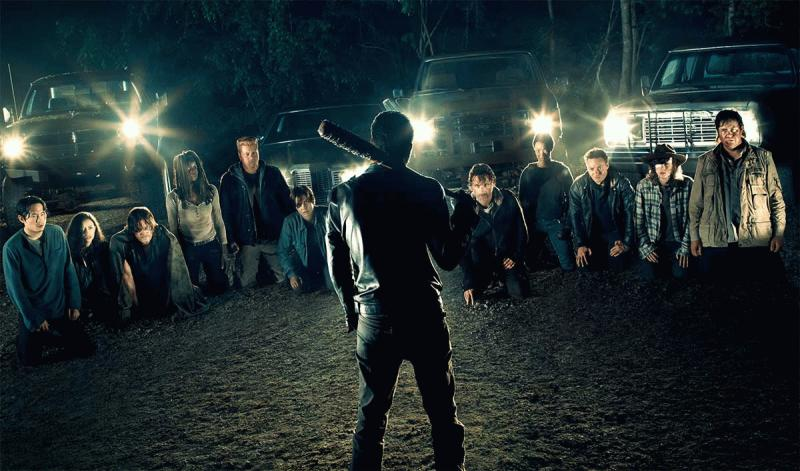 A promo photo showing Rick and the other Alexandria survivors meeting Negan.