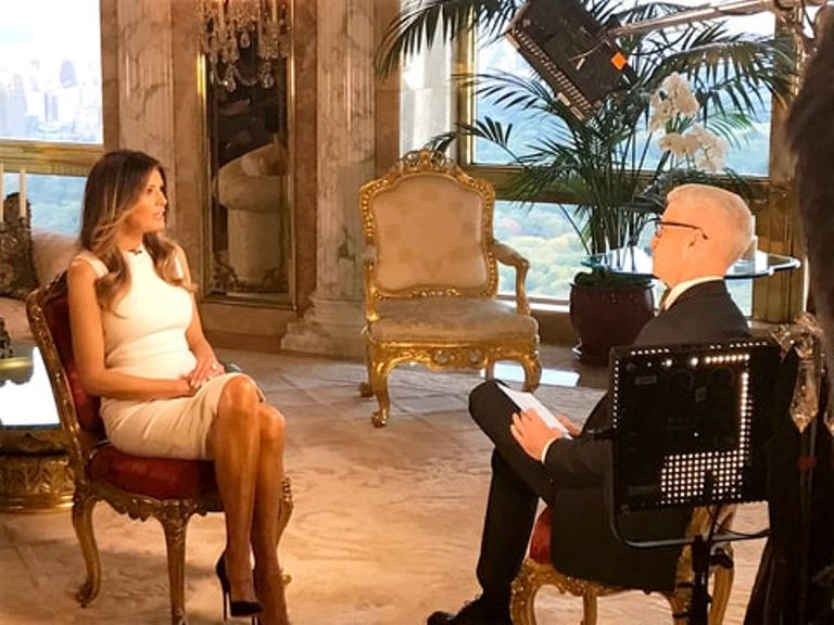 Melania Trump talking to Anderson Cooper in her CNN interview.