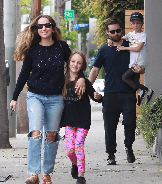 Tobey Maguire and his family in an undated photo.