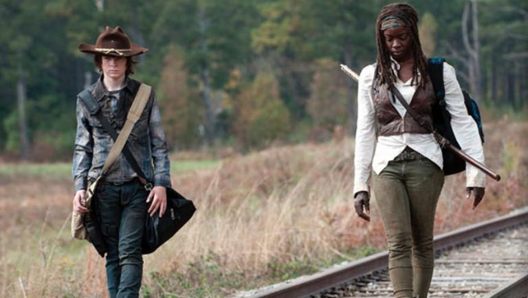 """Michonne and Carl in one of the scenes of """"The Walking Dead."""""""