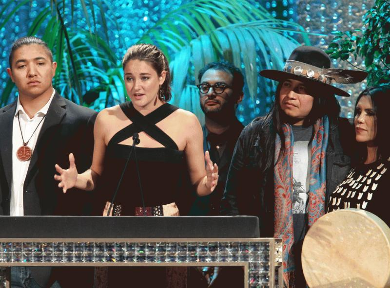 Shailene Woodley photographed while giving her acceptance speech at the 2016 Environmental Media Awards.