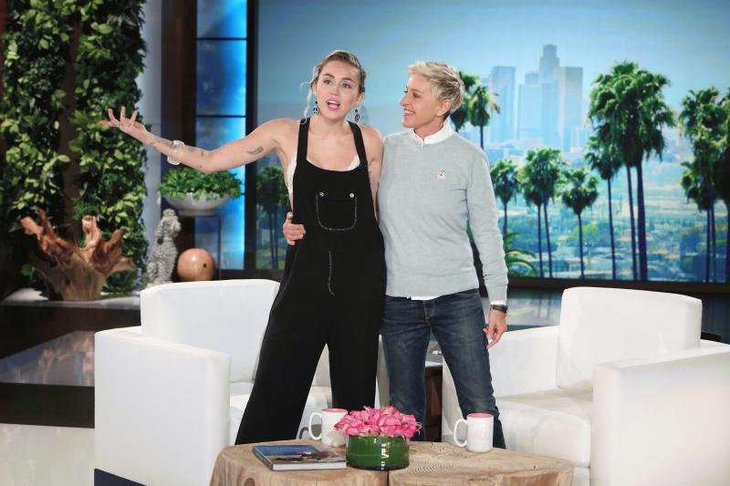 "Miley Cyrus and Ellen DeGeneres photographed together during the singer's latest guesting at ""The Ellen DeGeneres Show."""