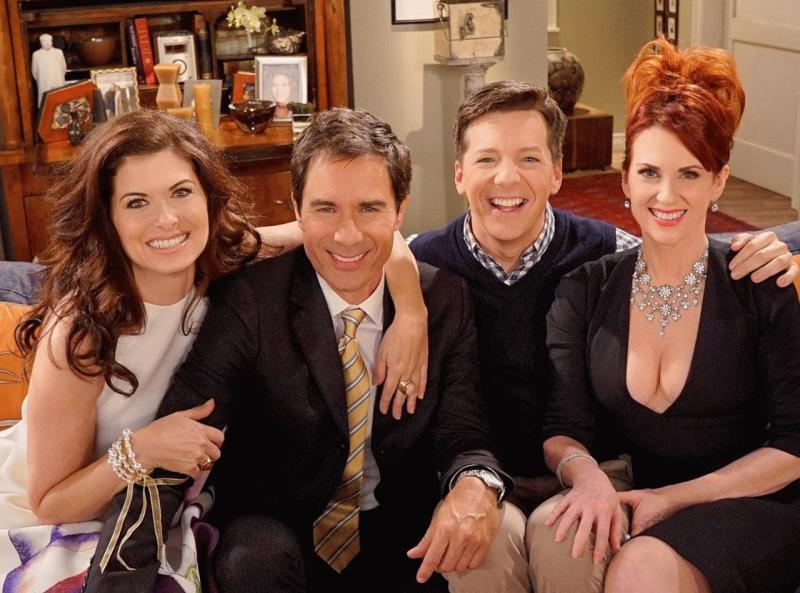 "Eric McCormack, Debra Messing, Megan Mullally, and Sean Hayes in a promo photo for ""VoteHoney."""