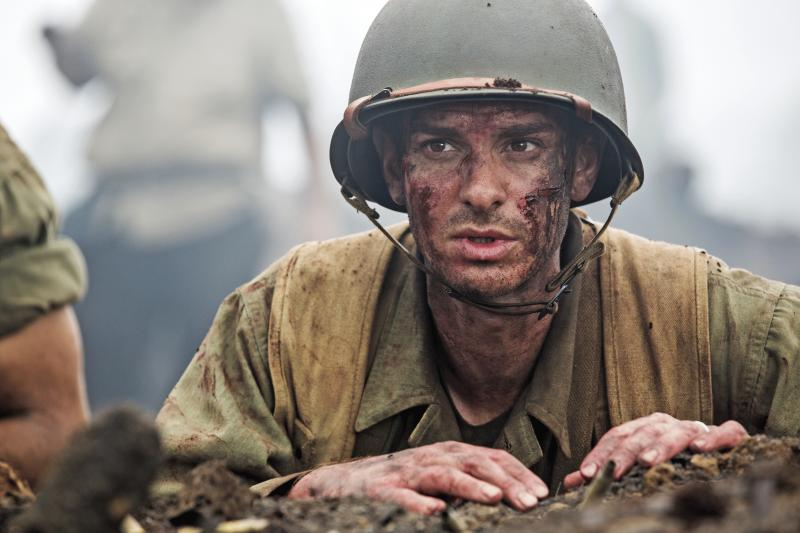 "A promo photo showing Andrew Garfield for ""Hacksaw Ridge."""