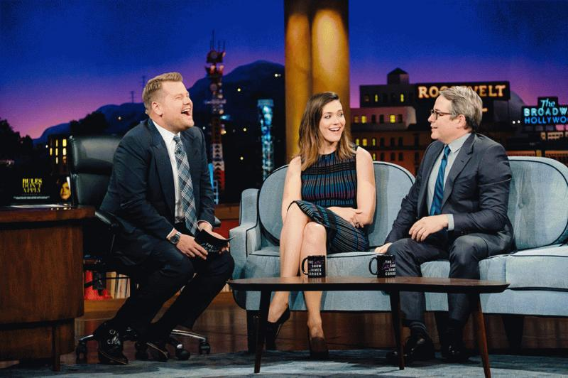 Mandy Moore talking with James Corden during the Tuesday episode of his show.