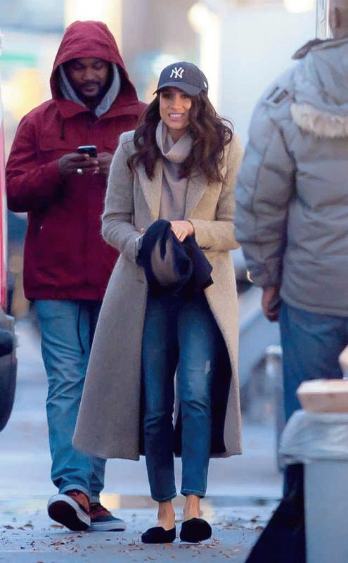 "Meghan Markle photographed during the last day of filming for ""Suits"" Season 6."