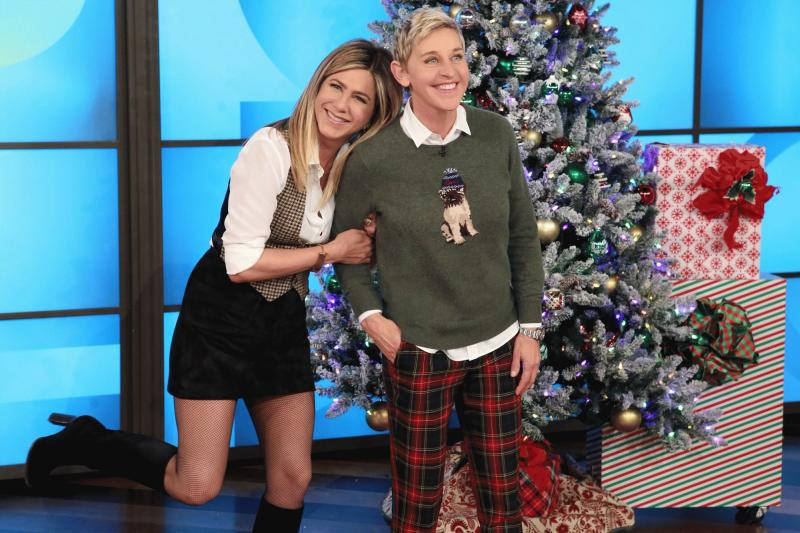 Jennifer Aniston photographed with Ellen DeGeneres as the actress guested on the TV show for its Wednesday episode.