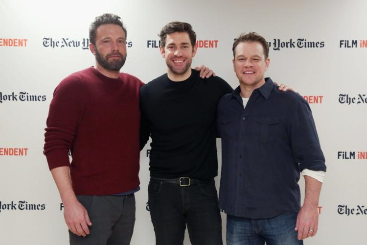 "Ben Affleck, John Krasinski and Matt Damon photographed at the the Film Independent NYC ""Live Read"" at NYU Skirball Center."