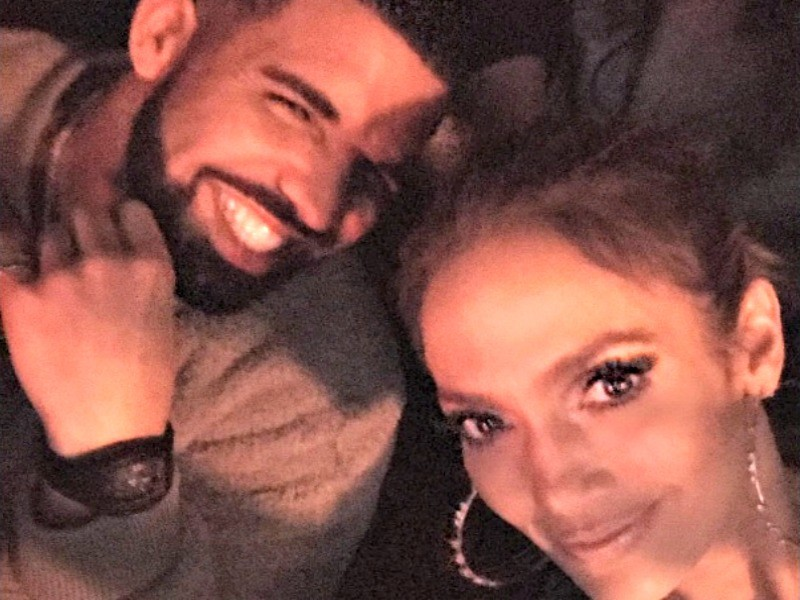 Jennifer Lopez and Drake in an Instagram photo uploaded by the songstress.