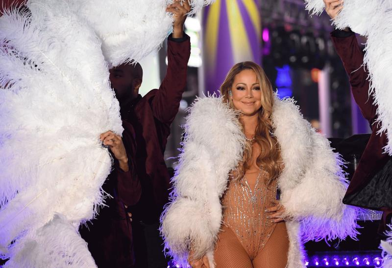 Mariah Carey photographed during her New Year's Eve performance.