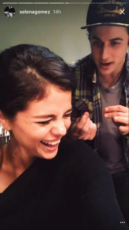 A photo showing Selena Gomez and David Henrie from one of their Snapchat videos.