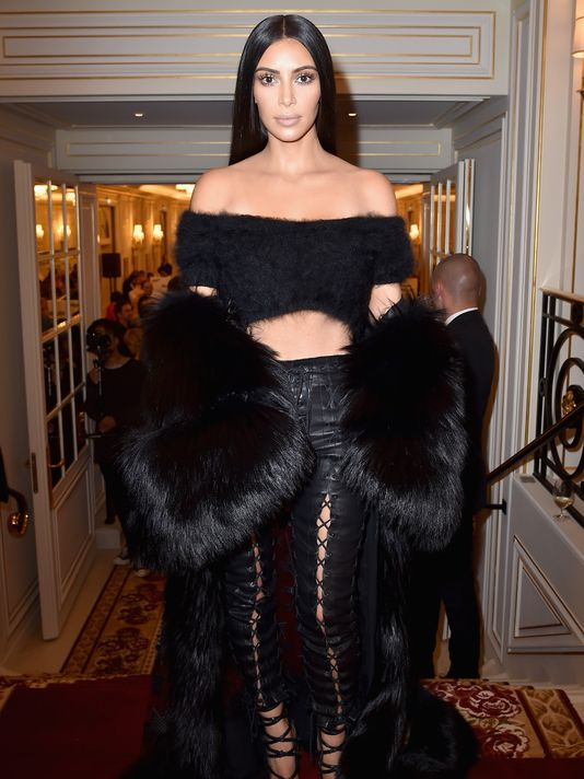 Kim Kardashian as seen during the Paris Fashion Week last year days after she was allegedly robbed at her hotel room.