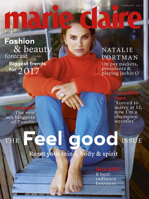 Natalie Portman in the cover photo for the February 2017 issue of Marie Claire U.K.