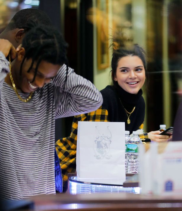 Kendall Jenner and A$AP Rocky in a photo taken while they were shopping in New York City.