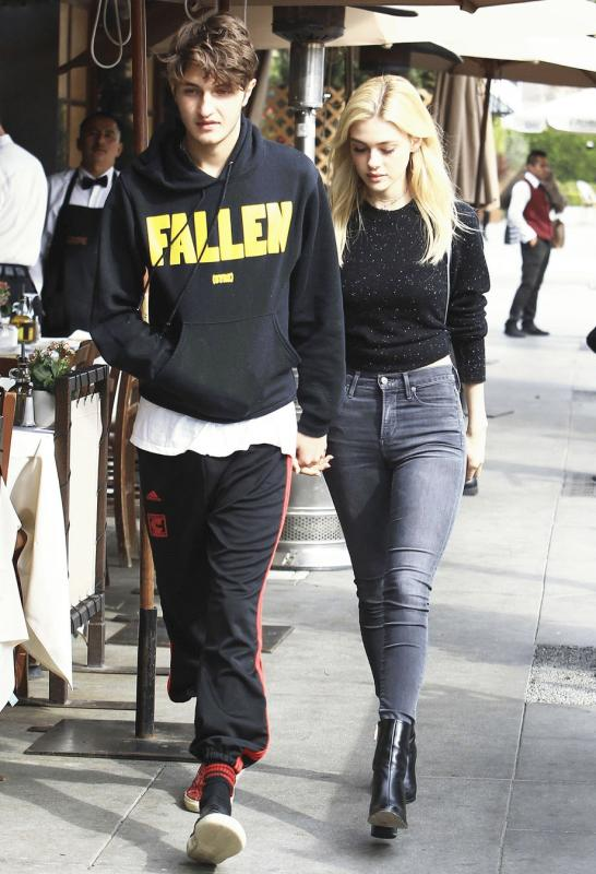 Anwar Hadid and Nicola Peltz photographed in Beverly Hills after having lunch together.