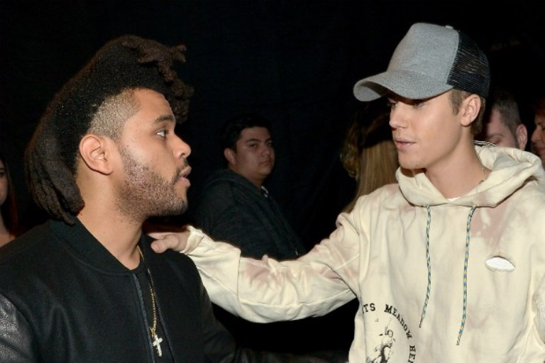 Justin Bieber and The Weeknd photographed in 2015.