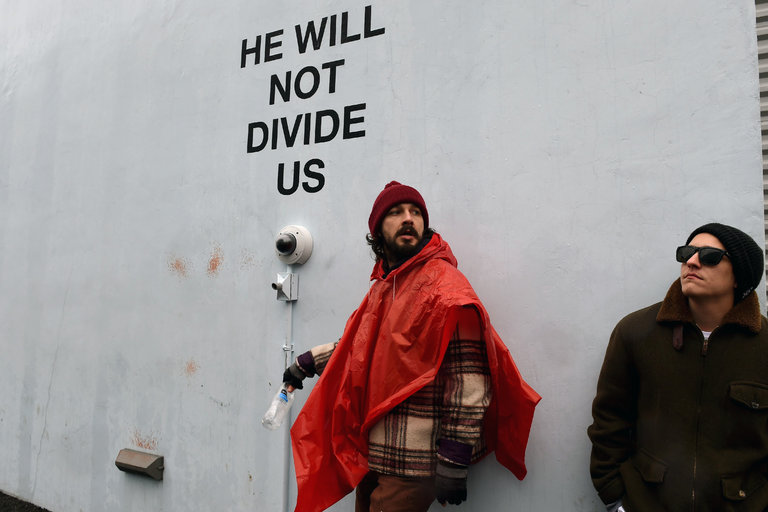 Shia LaBeouf photographed during his New York art show protesting Donald Trump.