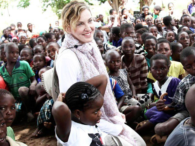 Madonna photographed in Malawi in an undated photo.