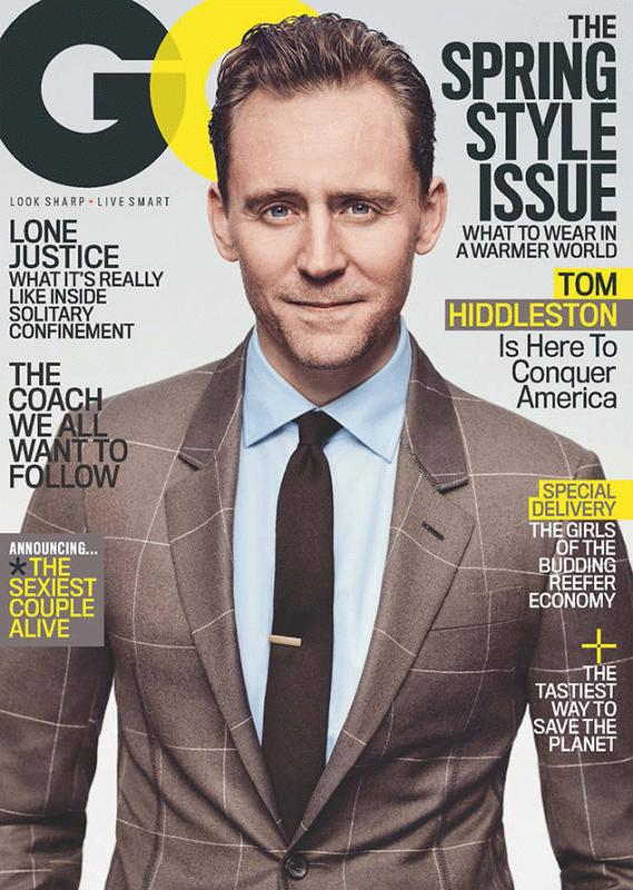 Tom Hiddleston covers the March issue of GQ magazine.