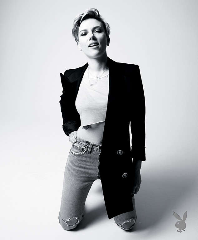 Scarlett Johansson poses for the March/April issue of Playboy magazine.