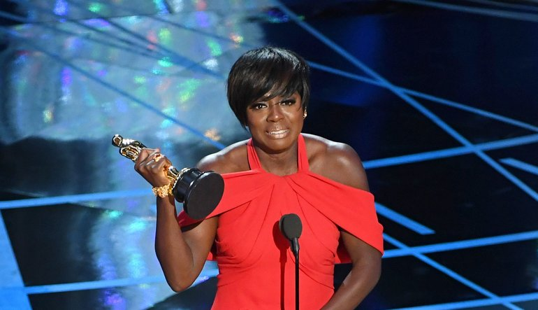"A photo showing Viola Davis from the 2017 Academy Awards during her acceptance speech for her performance on ""Fences,"" which landed her the Best Supporting Actress award."